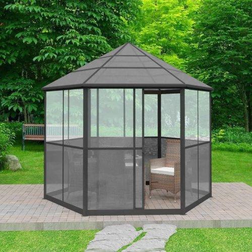 vidaXL Garden Gazebo Aluminium Hexagonal Grey