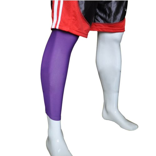 """[PURPLE] 17.7"""" Long Compression Basketball Leg Sleeve One Pic, Size Middle"""