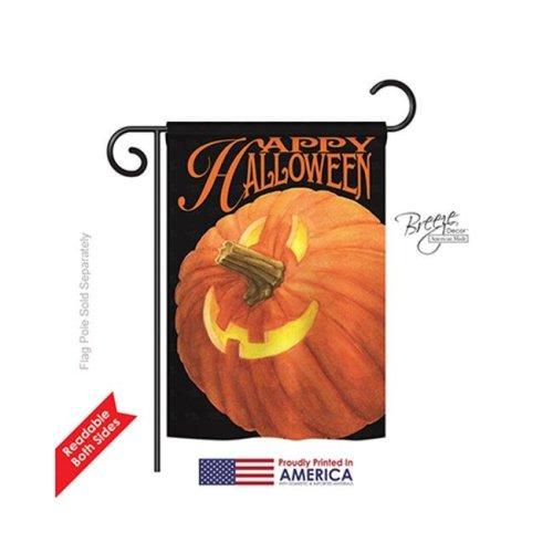 Breeze Decor 62057 Halloween Jack O Lantern 2-Sided Impression Garden Flag - 13 x 18.5 in.