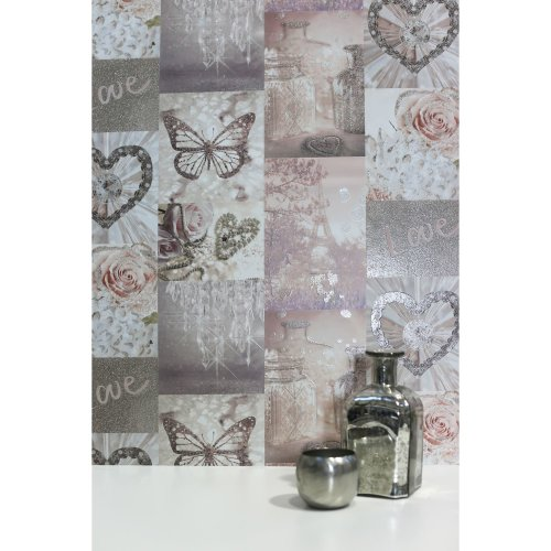 Arthouse Love Paris French Themed Eiffel Tower Roses Butterflies Hearts Glitter Wallpaper 691107