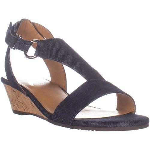 Aerosoles Creme Brulee Wedge Sandals, Denim, 6.5 UK