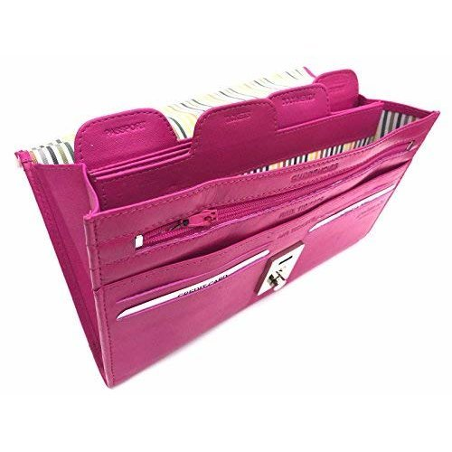 Travel Document Wallet - Soft Leather - Lockable (Bright Pink)