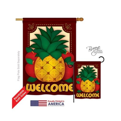 Breeze Decor 17017 Welcome Pineapple 2-Sided Vertical Impression House Flag - 28 x 40 in.