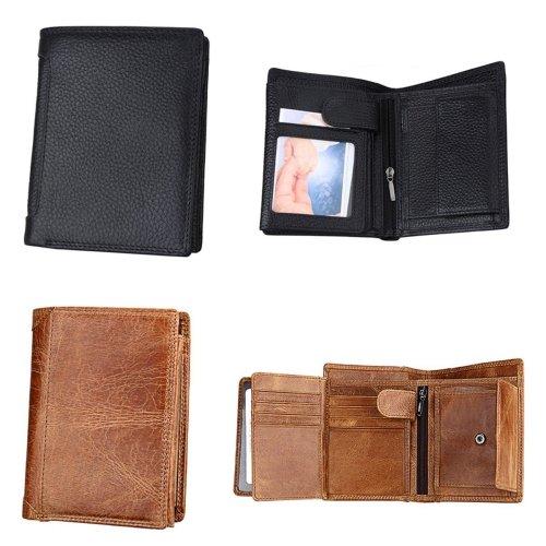 IPRee® Men's RFID Blocking Short Wallet Genuine Leather ID Card Holder Coin Purse