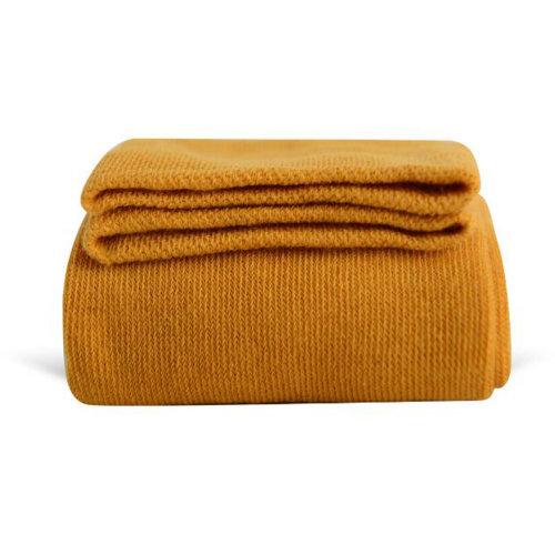 Women Girls Winter Over Knee Leg Warmer Knit Cotton Socks - Yellow
