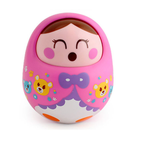 Lovely Nodding Doll Tumbler Push and Pull Toys(Pink)