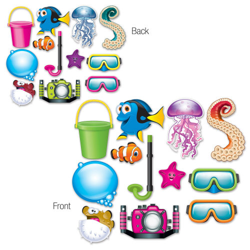 12 Piece Under The Sea Photo Fun Signs - Sea Animals Cutout Party Decorations