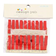 Mini Natural Wooden Clothespins Photo Paper Peg Pin Craft Clips with 2m Jute Twine, C