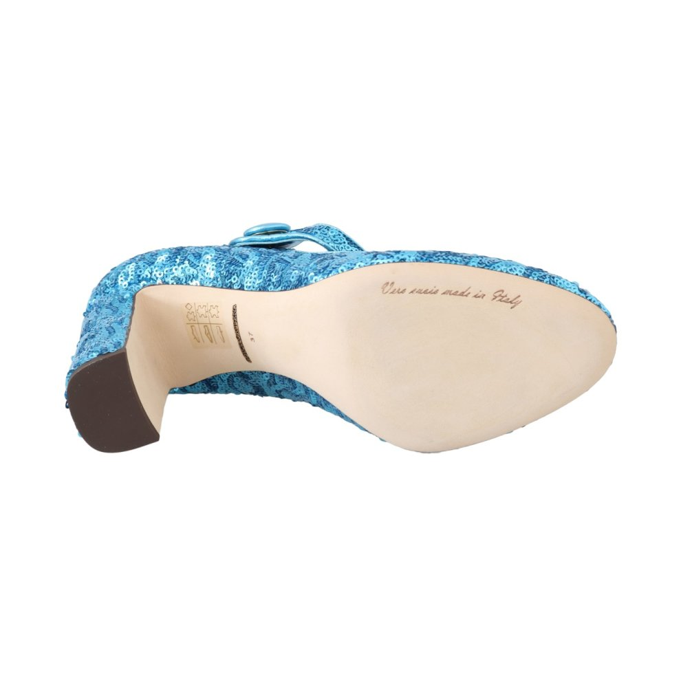 9fb041df42 ... Dolce & Gabbana Blue Sequined Mary Janes Shoes - 2 ...