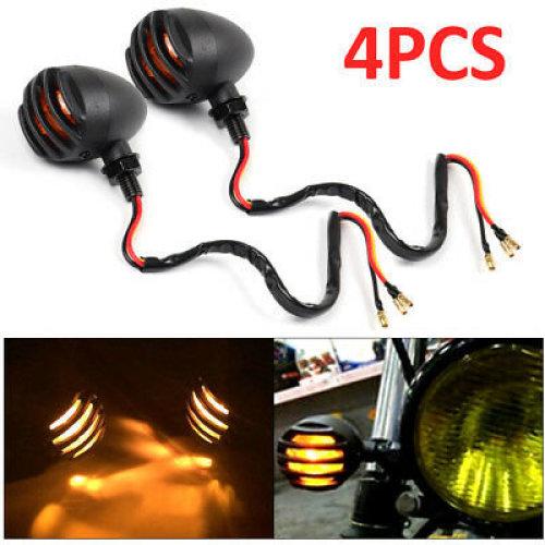 4x Motorcycle Retro Amber Turn Signal Indicator Metal Bulb Light Rear Front Lamp