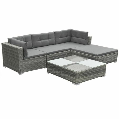 5pc vidaXL 42741 Rattan Garden Lounge Set - Grey | 4 Seater Rattan Sofa Set