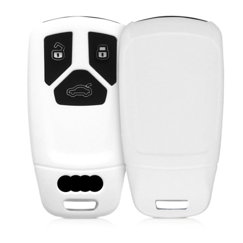 kwmobile Audi Car Key Cover - Silicone Protective Key Fob Cover for Audi 3  Button Car Key Smart Key (only Keyless Go) - White Black