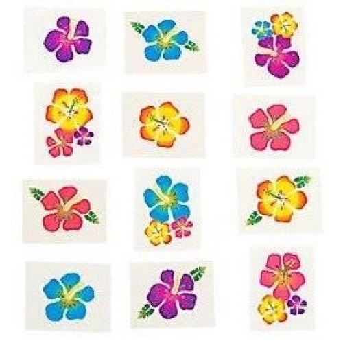 Pack of 12 - Hawaiian Hibiscus Flowers Temporary Tattoos