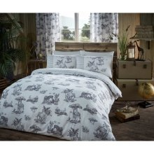 Safari jungle animal grey cotton blend duvet cover