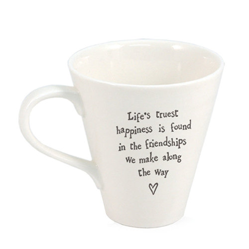 East of India Porcelain Mug - Life's truest happiness is found