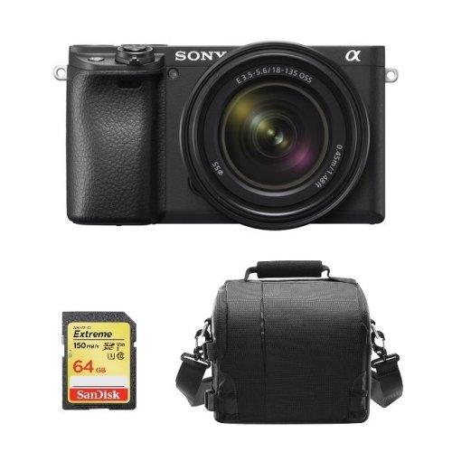 SONY A6400 Black KIT SEL 18-135MM F3.5-5.6 OSS Black+64GB SD card+Bag