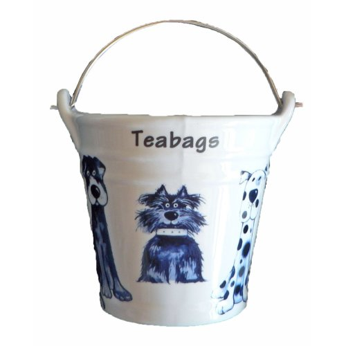 Dogs (Blue) Design Bucket Teabag Tidy, Porcelain Bucket Teabag Tidy