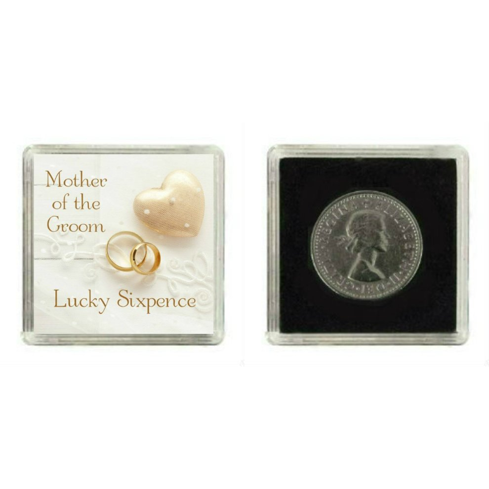 Lucky Wedding Sixpence Coin for Mother of The Groom & Traditional Thank You Gift idea.