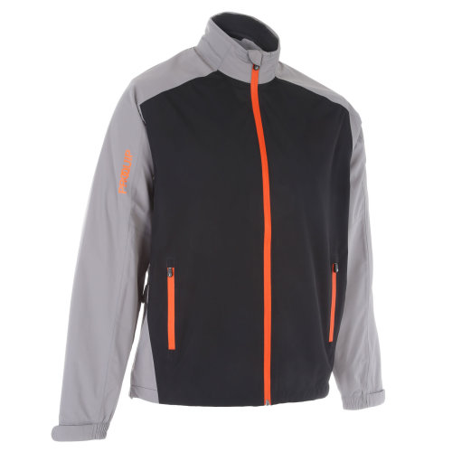 ProQuip Golf Mens Aquastorm PX1 Waterproof Rain Jacket Full Zip Grey/Black/Orange Large