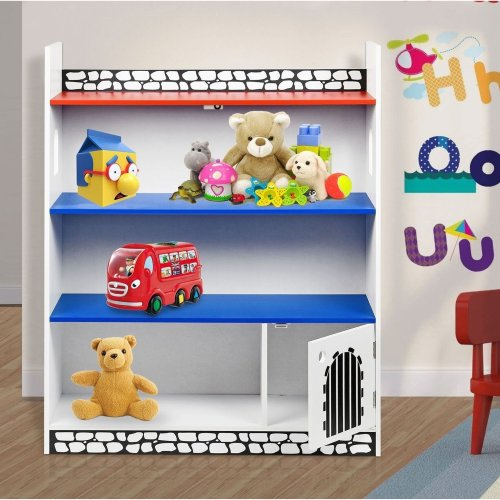 Kids Childrens Wooden Castle Bookcase Shelf Storage Rack Organiser