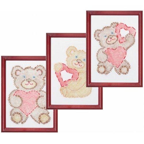 488385 Stamped Embroidery Kit Beginner Samplers 6 in. x 8 in. 3-Pkg-Fuzzy Bears