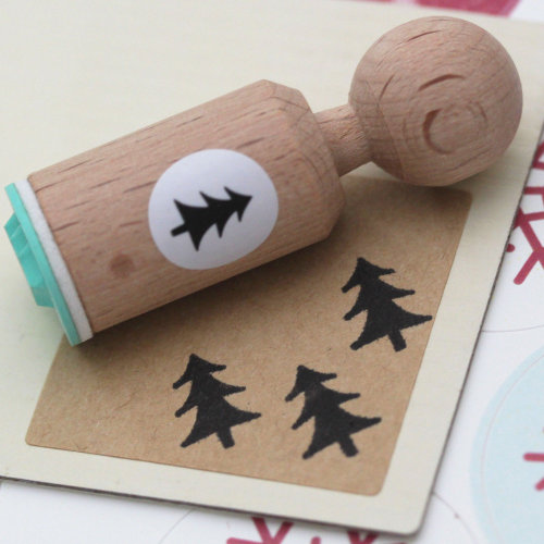 Christmas Tree Rubber Stamp Round - VERY MINI - Craft / Paper Decorate