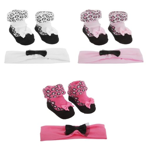 Baby Girls Leopard Print Socks & Elasticated Headband (2 Piece Gift Set)