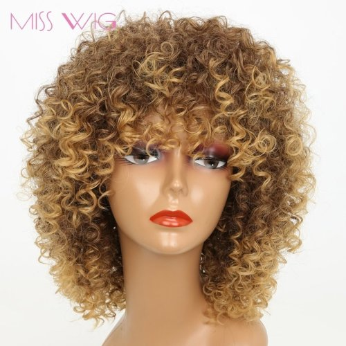 16Inches Long Afro Kinky Curly Wigs for  Synthetic Wigs African Hairstyle