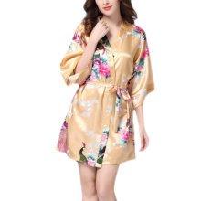 Charming Women Bathrobe Blossoms Peacock Kimono Silk Robes Gown-Champagne