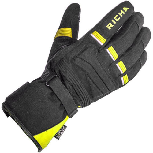 Richa Peak Fluo Leather Textile Mix Waterproof Motorcycle Gloves