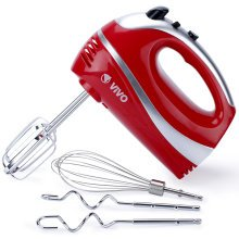 300W Black/Red Hand Food Mixer Whisk Dough Hooks 5 Speed Turbo Chef Cook Kitchen[Red]
