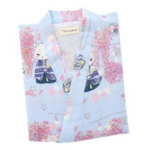 Japanese Style Women Thin Cotton Bathrobe Pajamas Kimono Skirt Gown-A15