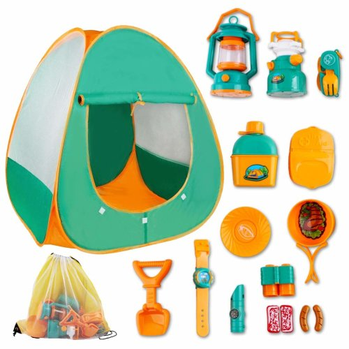 deAO Pretend Play Camp Set Survival Kit with Large Tent and 16 Camping Toy Tool Accessories - Outdoor Toy for Children to Explore the Wilderness