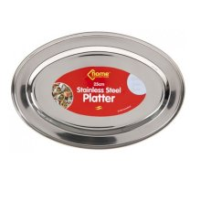 25cm Stainless Steel Oval Platter. -  stainless steel oval platter rice tray plate serving dish meat buffet kitchen