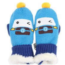 Lovely 1-4 Years Kid's Double Layer Mittens Winter Hand Gloves, Blue Car