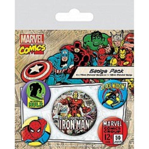 Marvel Retro (iron Man) - Badge Set Film Pin Comics Iron Man 5 Button Avengers -  badge set film pin marvel comics iron man 5 button avengers black