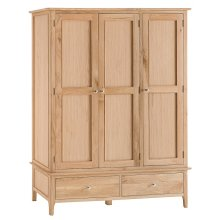 Bergen Oak Large 3 Door Wardrobe