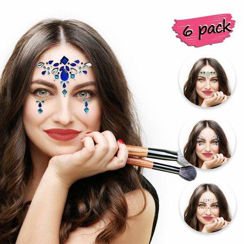 Bee banna 6 Sheets Face Stickers Mermaid Gems Glitter Festival Body Jewels Stickers Crystals Bindi Rainbow Tears Rhinestone Temporary Tattoo Face...