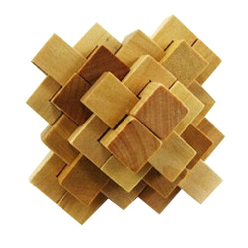 2 PCS Challenging Wood Brain Teaser Puzzle Disentanglement Puzzles, Style 11