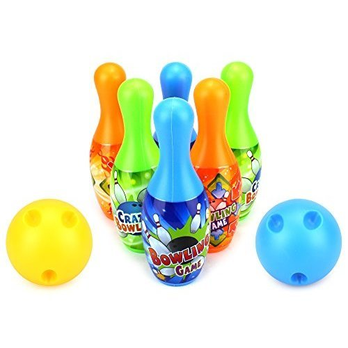 Crazy Bowler Children's Mini 8 Piece Toy Bowling Set w/ 6 Pins, 2 Bowling Balls