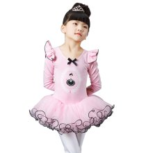 Soft Ballet Skirt Tutu Long Sleeve Ballet Dress Dance Costumes for Stage, A
