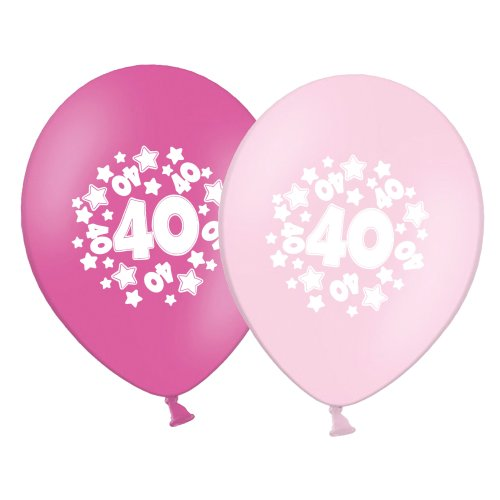 "number 40 - stars -  12""  Pink Assortment Latex Balloons pack of 6"