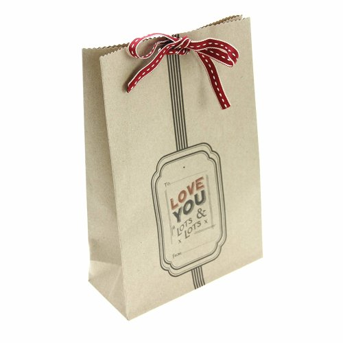 East Of India: Single Kraft Gift Bag With ribbon: Love You Lots & Lots