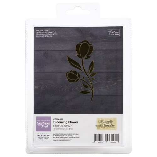 "Couture Creations Butterfly Garden Hotfoil Stamp-Blooming Flower 1.5""X3.1"""