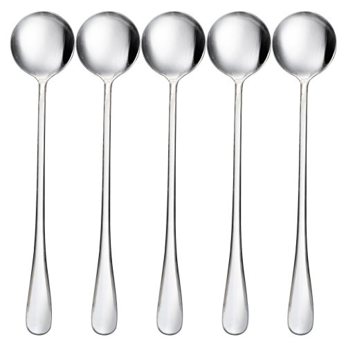 TRIXES Set of 5 Long Stainless Steel Spoons for Coffee & Tea