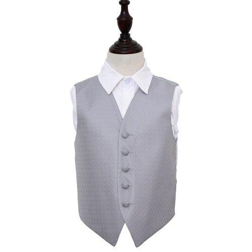 Silver Greek Key Wedding Waistcoat for Boys 34'
