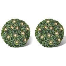 Boxwood Ball Artificial Leaf Topiary Ball 35 cm Solar LED String 2 pcs