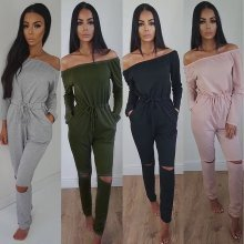 Womens Off Shoulder RIpped Knee Jumpsuit