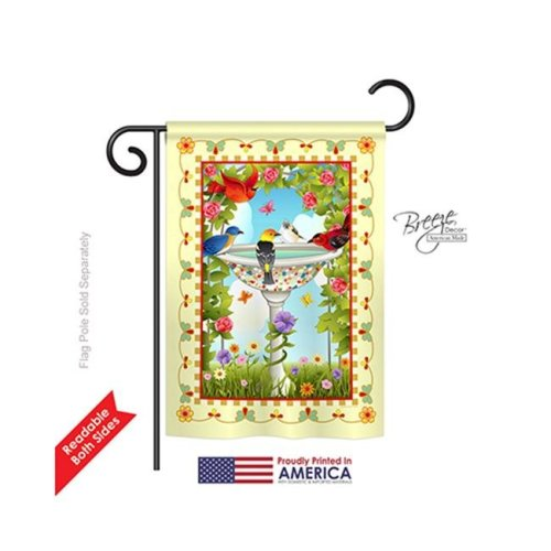 Breeze Decor 55037 Birds Bathing Birds Ivory 2-Sided Impression Garden Flag - 13 x 18.5 in.