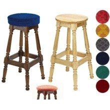 Tamara Wood Bar Stool - Padded / Unpadded Cream Faux Leather Button Seat Walnut